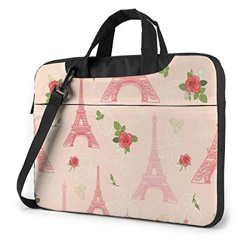 15.6 inch Laptop Shoulder Briefcase Messenger Romantic Eifel Tower Roses Flowers Tablet Bussiness Carrying Handbag Case Sleeve