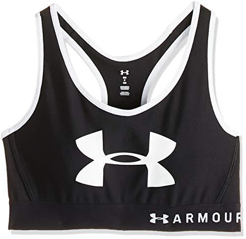 Under Armour Armour Mid Keyhole Graphic Ropa Mujer para Correr, Sujetador Deportivo Espalda Cruzada y Logotipo, Negro, MD
