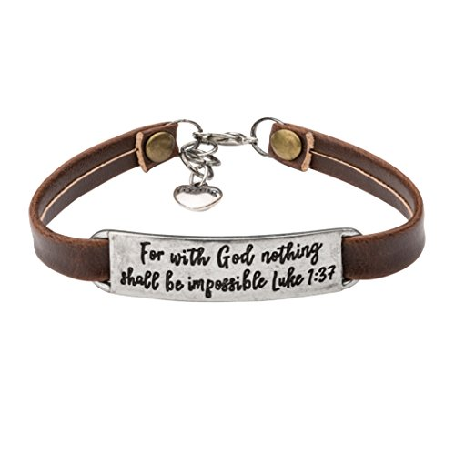 UNQJRY Religious Bracelets for Girls Vintage Bible Verse Leather Bracelet for Women Teens Christians Jewelry Gift Personalized Engraved for with God Nothing Shall Be Impossible