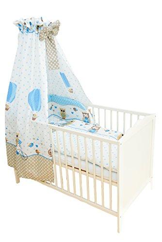 SWADDYL Kinderbettgarnitur 5 teilig, Bettwäsche Set (Kissen, Decke, Bettlaken) I Himmel I Nestchen, Bettset für Babybett Eule (Blau)