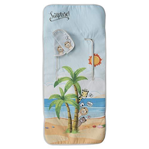Colchoneta Bebé Silla + Cubrearneses Regalo, Hipersuave, Hipoalergénica, Tejido 3D Transpirable. (Beach)