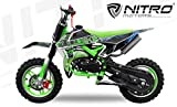 "Dirtbike 49cc 10"" Crossbike Pocket Minicross Motorcross Bullbike (Grün)"