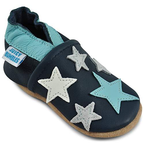 Juicy Bumbles - Weicher Leder Lauflernschuhe Krabbelschuhe Babyhausschuhe mit Wildledersohlen. Junge Mädchen Kleinkind- Gr. 0-6 Monate (Größe 19/20)- Blaue Sterne