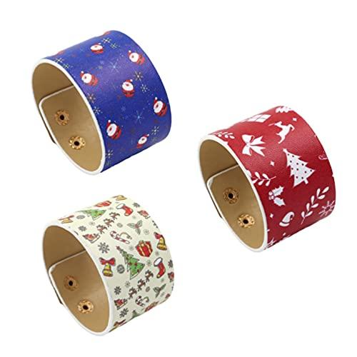 ABOOFAN 3 Piezas de Pulsera de PU Pulseras de Cuero Ancho de Navidad PU Muñequera de Cuero para Mujeres Niñas Decoración de Fiesta de Navidad