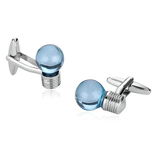 Coniea 2Pcs Acero Inoxidable Gemelos Camisa Hombre Informatica Bombilla Eléctrica Azul Plata Gemelos Camisa Hombre