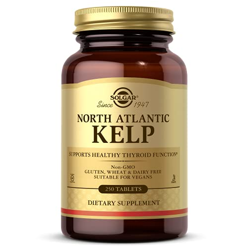 Solgar North Atlantic Kelp, 250 Tablets - Natural Source of Iodine - Supports Healthy Thyroid Function - Gluten Free, Dairy Free, Kosher - 250 Servings