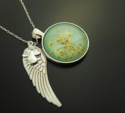 Echte Blüten in Giessharz Cabochon rund blau Flügel Engel romantisch Kette silbern Juvelato