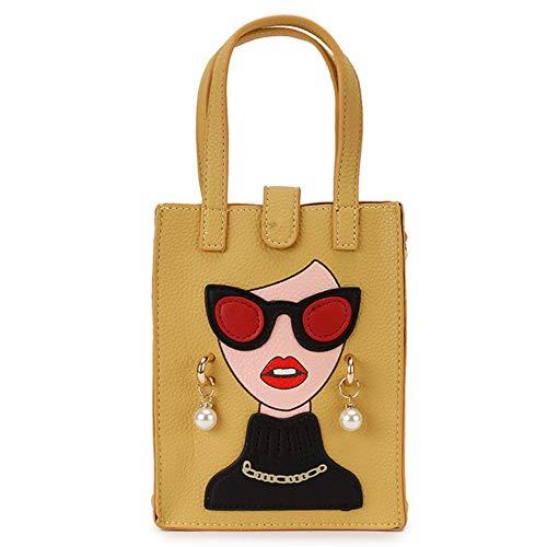 hysxm Moda Pendientes de perlas Mujer sexy Diseño de personajes Pu Bolso de mujer joven Bolso bandolera Bandolera Bolsos de mujer Totalizadores, amarillo