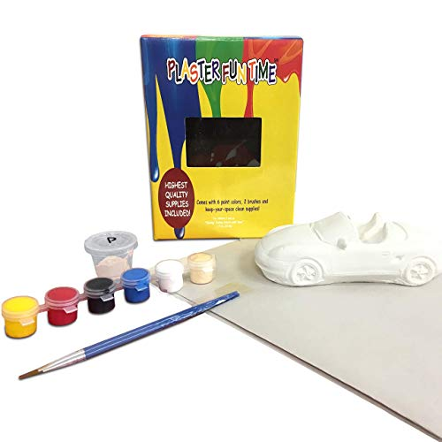 Paint Your Own Car Painting Kit for Kids (3+) - Ceramic Arts & Crafts for Kids - DIY All Inclusive & Ready – Includes 1 Car, 6 Paint Colors, 2 Brushes, Paper for Quick Clean Up