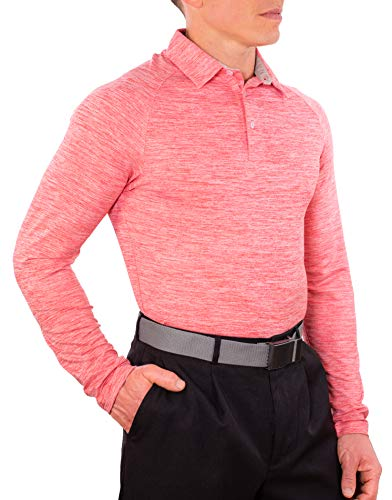 CC Performance Slim Fit Long Sleeve Golf Shirts for Men Dry Fit Tech | Wrinkle Resistant Stretch Mens Polo Shirts