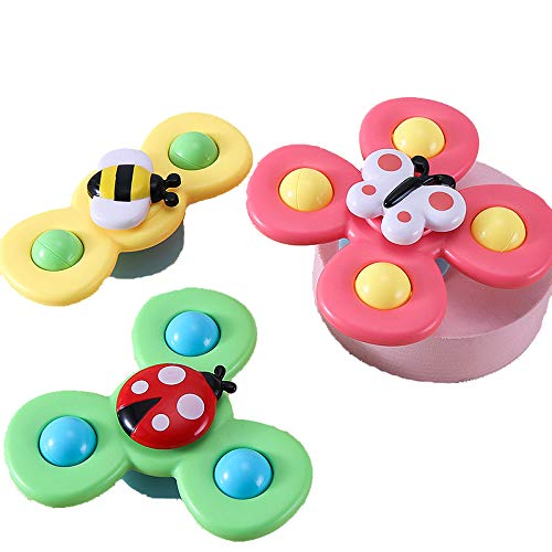 Suction Cup Spinning Top Toy Baby Toy, Spinner fingertip gyro Fidget Spinner for Baby Toys Children Kids Girls Boys Toy Stress Relief Spiral Novelty Spinning Tops Finger Toys Learner Toys (3PCS)