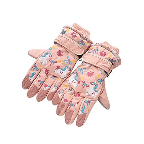 WBDL Winter Unicorn Girls Boys Gloves Plush Skiing Kids Mittens Warm Non Slip Waterproof Children Full-Finger Gloves 6-10Years
