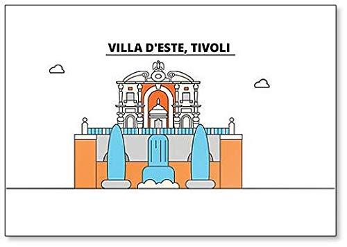 Villa D'Este, Tivoli Minimalist Illustration Klassischer Kühlschrankmagnet