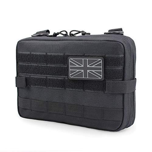 WYNEX Tactical Molle Admin Tasche, EDC Utility Pouches Tools Tasche EMT Utility Map Tasche, IFAK Pack UK Flag Patch enthalten