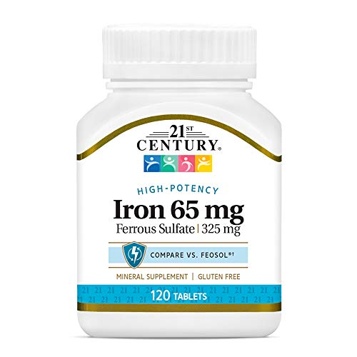 21st Century Iron 65 mg Ferrous Sulfate 325 mg Tablets  120 Count