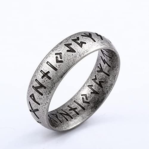 Acero Inoxidable Estilo de Moda Hombres Doble LetraRune PalabrasOdin nórdico Vikingo Amuleto Retro Anillos joyería Regalo