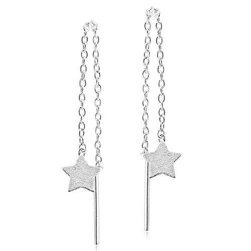 Trendy Star Dangle Thread Slide-Through .925 Sterling Silver Earrings