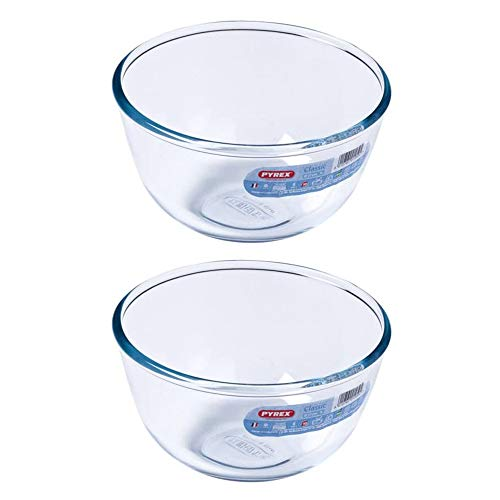 Pyrex Classic Round Glass Bowl Ovenproof and Microwave Safe 1.0 Litre Transparent (Pack of 2)