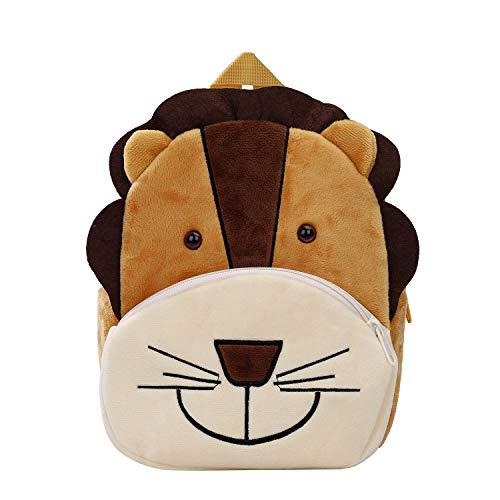 Cartoon Kinder Rucksack Tier Cartoon Mini Tasche Plüsch Kinder Rucksack für Baby Jungen Mädchen Kleinkind 2-4 Alter, Löwe