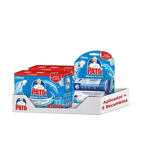 PATO Pack Discos Activos WC Marine, Contiene Aplicador + 5 Recambios 20 G