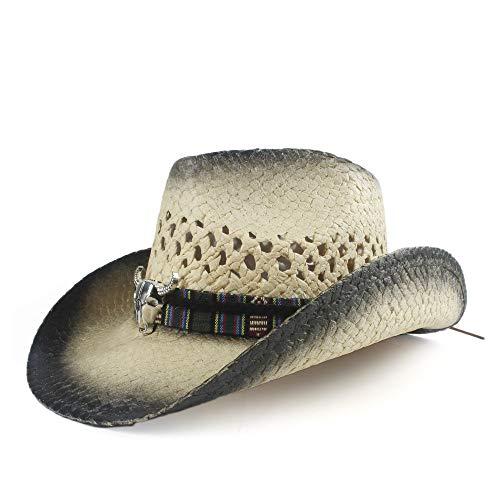HuiQin Zhang Mode Sommer Cowboyhut lässig Unisex Strand Big Hat Jazz Panama Strohhut Stroh Papier Damen Herren Sonnenhut geflochten mit Kuhkopf (Color : 1, Size : 56-58)