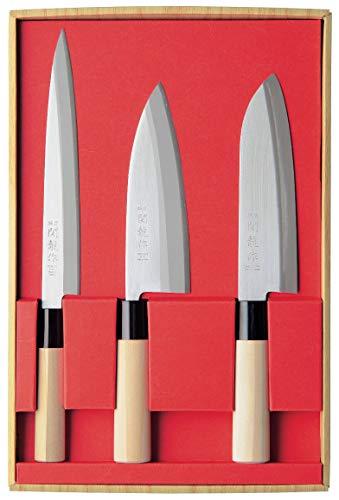 Sekiryu SR801 - Juego de 3 cuchillos japoneses Sashimi, Santoku y Deba...