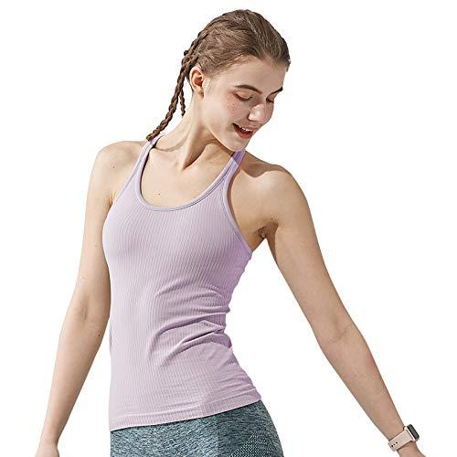 Yoga Racerback Tank Top for Women with Built in Bra,Women's Padded Sports Bra Fitness Workout Running Shirts (Purple, Medium)