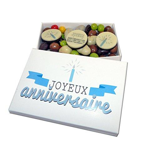 Ballotin de chocolat - COFFRET CADEAU LISEA MM - CHOCOLAT ARTISANAL 165g - COFFRET CADEAU CHOCOLAT (Bon anniversaire bougie)