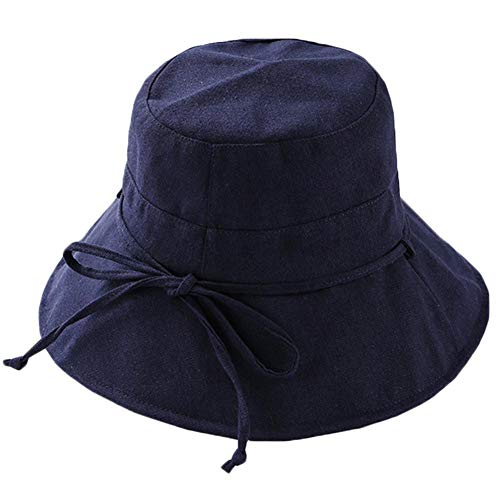 Drawihi Baumwollhut Damen faltbarer Sonnenhut Sommerhut mit Sonnen Schutz Fischerhut Breite Krempe-56-58 cm Gr. Einheitsgröße, navy