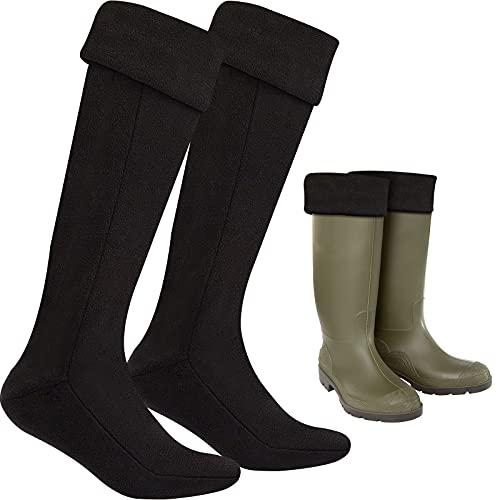 Calcetines de Bota Adulto de Vellón Largos Térmicos Wellington (Grande, Negro)