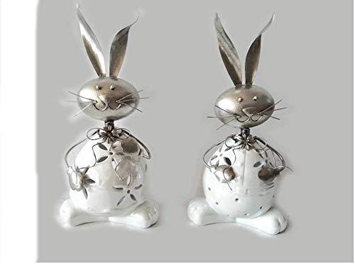 Formano Decorazione per Pasqua, portacandela antivento a forma di coniglio, 31 cm, in gres smaltato bianco con metallo argentato
