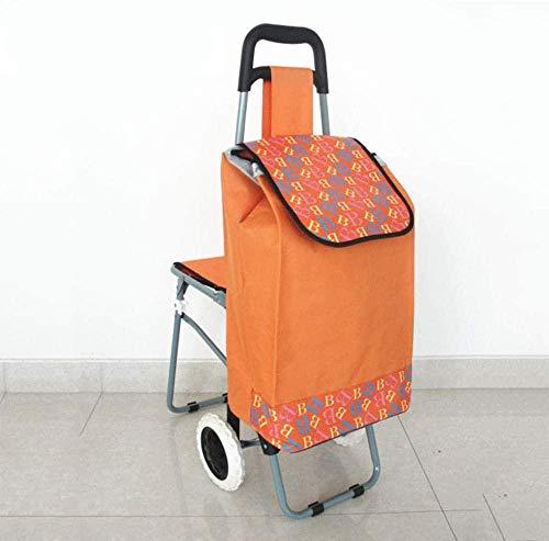 gengxinxin Klappbar Einkaufstrolleys Verstellbarer Griff Einkaufstrolley Einkaufskörbe Einkaufswagen Wagen Tragbarer Seniorenwagen Mit Hocker Einkaufswagen Home Food 55x36x92cm-c