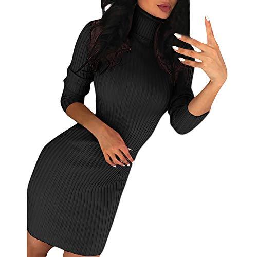 FRAUIT Damen Rollkragen Strickpullover Kleid Strickkleid Sexy Slim Fit Pullover Stretch Pullikleid Lang Sweater Elegant Minikleid für Winter Freizeit...