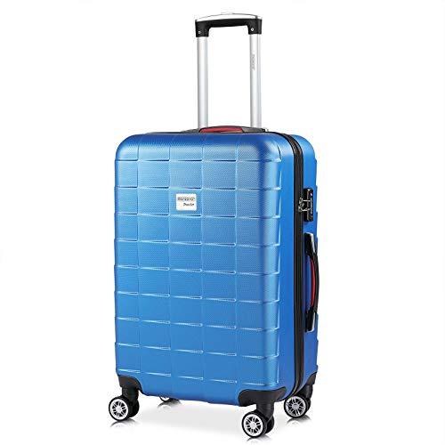 Monzana Hartschale Trolley Koffer | Größe L | TSA Schloss | Zwillingsrollen | Blau | Reisekoffer Rollkoffer