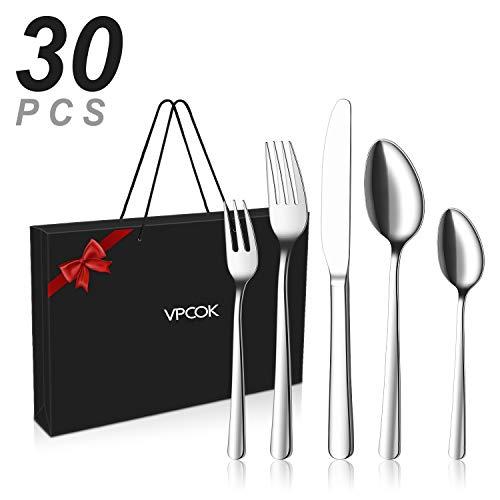 VPCOK Geschenkbox Besteck set Besteckset, 30 teilig für 6 Personen, Gemischte Bestecksets aus Edelstahl Hochwertige Spiegelpolierte, spülmaschinengeeignet (MEHRWEG)