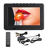 Televisor portátil LCD de 7 pulgadas, alta definición, color 800 x 480, alta resolución, DVB-T TV digital 1200 mAh, recargable, televisión analógica con mando a distancia de antena y línea AV