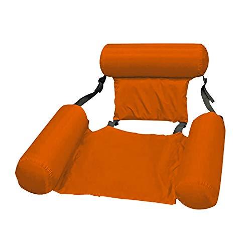 BaiJaC Sillón reclinable de Agua Inflable, sofá de Agua Inflable Flotante de la Piscina, Cama Flotante, Asiento Plegable de Piscina (Color : Orange)