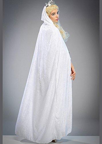 Magic Box Womens Snow Queen Cape Longue en Velours Blanc