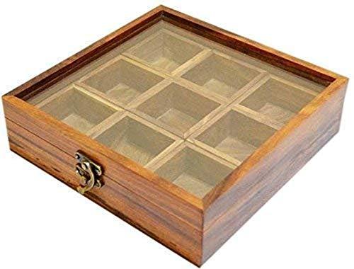 WorldOfIndianArt presenta caja de especias con cuchara en soportes de madera Masala Contenedor de almacenamiento decorativo
