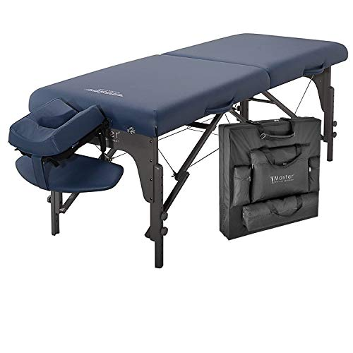 Master Massage 31 inch Montclair Extra Wide Massage Table Portable, Height-adjustable SPA Table Bed with Thick Memory Foam Layer, Face Cradle and Carrying Bag - Royal Blue