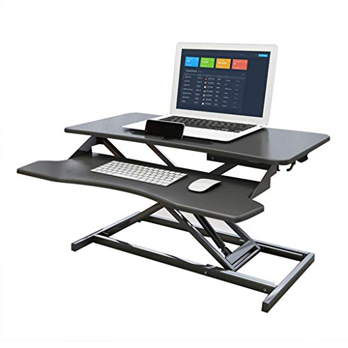 HLONG Standing Desk, Adjustable Computer Desk Laptop Desk Home Office Computer Workstation, Portable Laptop Stand Tall Table For Standing Or Sitting, Black
