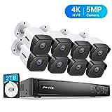 ANNKE 5MP PoE Überwachungskamera System Set 4K 8CH H.265+ Videoüberwachung NVR Rekorder 2TB HDD mit 8X 5MP HD IP Kameras, Sternenlicht Farbe Nachtsicht, für Aussen Innen, Bewegungserkennung