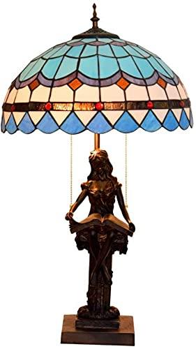 GDEVNSL Lámpara de Mesa Lámpara de Noche Vintage de 16 Pulgadas con Base de Resina para niña de Lectura, Lámpara de Escritorio con Pantalla de Vidrio teñido Azul, Luz de Mesa de Sala de Estar E27