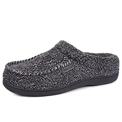 VeraCosy Herren warme Hausschuhe in Mokassins Stil, Pantoffeln mit Memory Foam und Plüsch Grau,44-45 EU