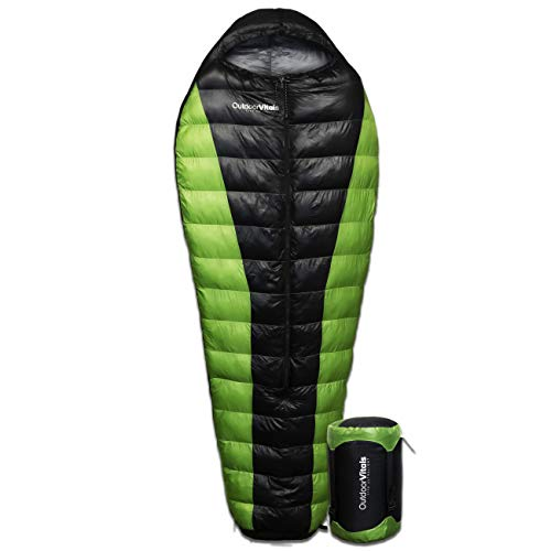 Outdoor Vitals Atlas 0-15 - 30 Degree F 650+ Fill Power Starting Under 3 lbs. Ultralight Backpacking Mummy Down Sleeping Bag for Lightweight Hiking & Camping
