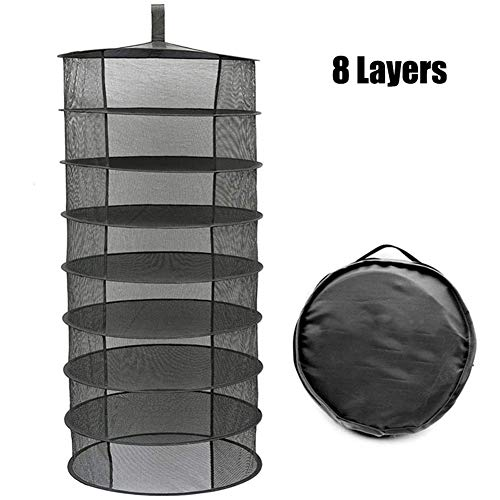 Herb Drying Rack, 8 Layer Hanging Plant Dryer Net, 60cm Diameter Black Collapsible Mesh Trays Without Zipper for Hydroponics