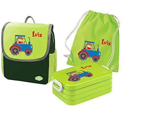 Mein Zwergenland Set 4 Kindergartenrucksack mit Brotdose und Turnbeutel Happy Knirps Next mit Name Traktor Bauernhof, 3-teilig, Grün