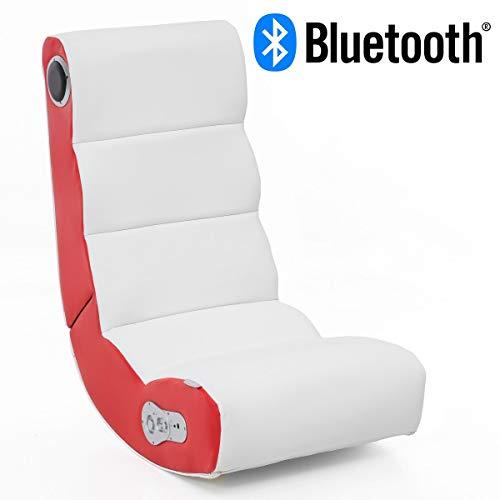 24Designs Soundchair Soundz Pro in Weiß Rot mit Bluetooth, eingebauten Lautsprechern | Multimediasessel für Gamer | Music Rocker, Lederimitat, H82 x B51 x T83cm | Musiksessel 2.1 Soundsystem-Subwoofer