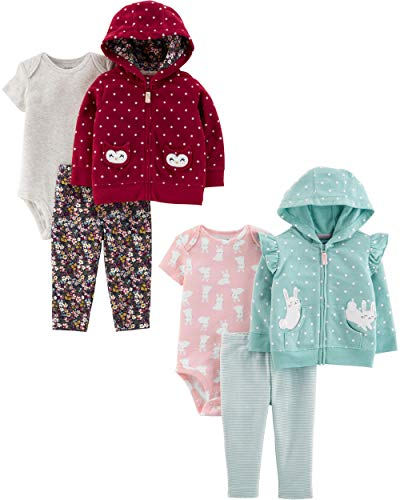 Carter's Baby Girls 2-Pack 3-Piece Cardigan Set, Bunny/Dots, 6 Months
