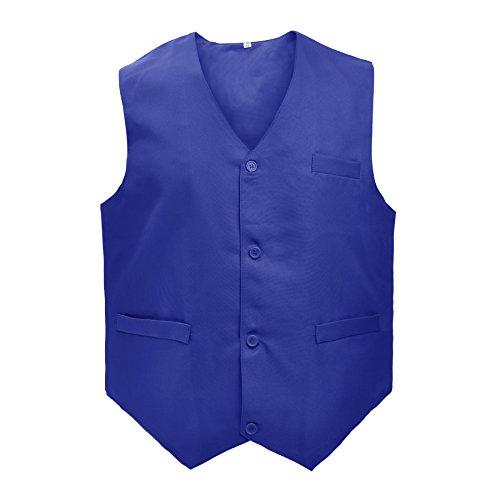 TopTie Waiter Uniform Unisex Button Vest For Supermarket Clerk & Volunteer-Blue-US Size L